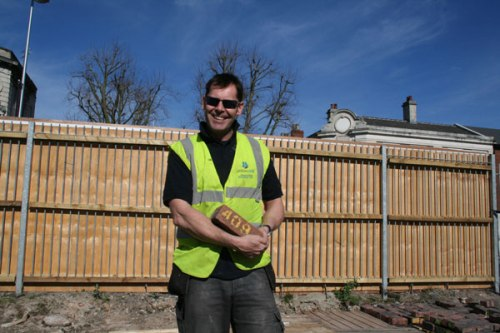 Bob Hope of Expert Home Extensions with brick 409, 11 Mar 2014