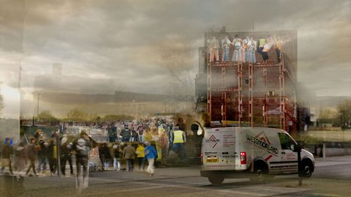 Jen Wu, Visualisation of The Wall: Phase II - Demolition.  Sent to Salford City Council via English Cities Fund, 7 Jan 2013.