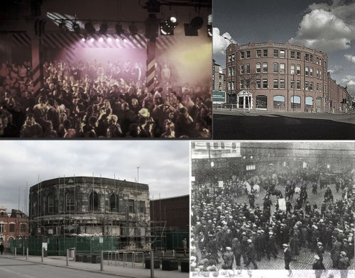 Clockwise from top left: Haçienda, Haçienda exterior, Battle of Bexley Square 1931, Old Bank Theatre (b. 1930)